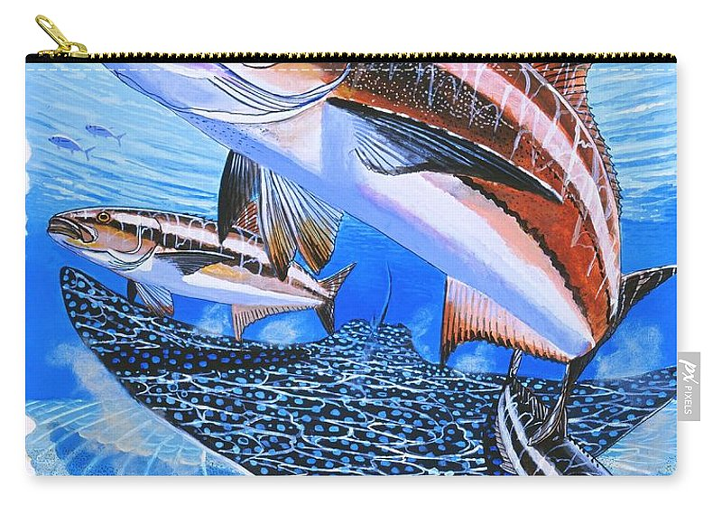 Cobia Carry-all Pouch featuring the painting Cobia On Rays by Carey Chen