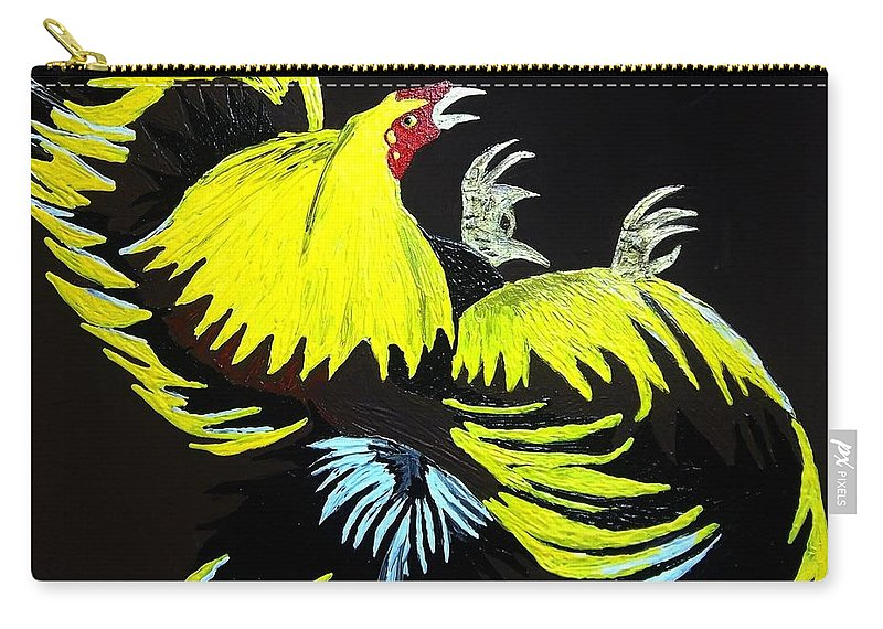Rooster Fight Carry-all Pouch featuring the painting Cock Fight Or Flight by Saundra Myles