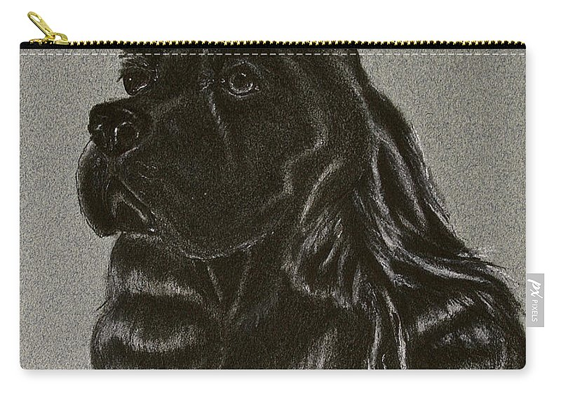 Black Cocker Carry-all Pouch featuring the drawing Cocker Spaniel by Susan Herber