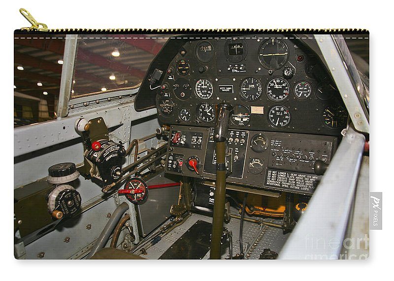 Horizontal Carry-all Pouch featuring the photograph Cockpit Of A P-40e Warhawk by Scott Germain