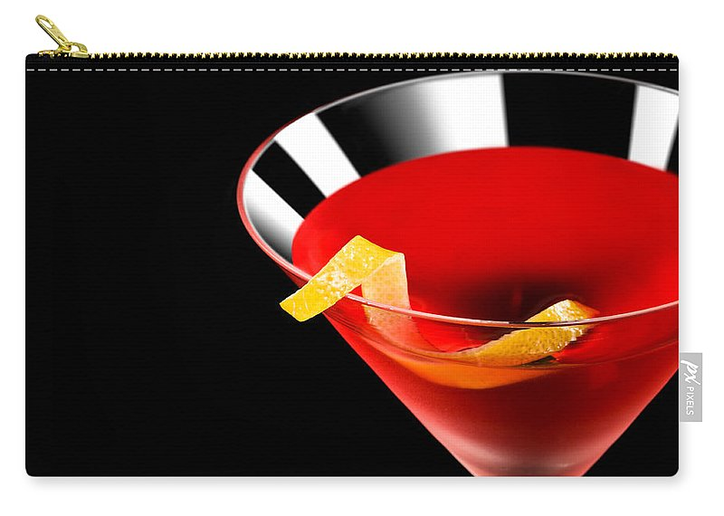 Alcohol; Alcoholic; Beverage; Citrus; Clear; Cocktail; Cool; Cosmo; Cosmopolitan; Drink; Fizzy; Garnish; Glass; Ice; Isolated; Juice; Liquor; Martini; Mixed; Nobody; One; Perspective; Red; Rim; Shape; Single; Spirit; Tasty; Transparent; Vodka; Yellow; Lemon; Sliced Carry-all Pouch featuring the photograph Cocktail by U Schade
