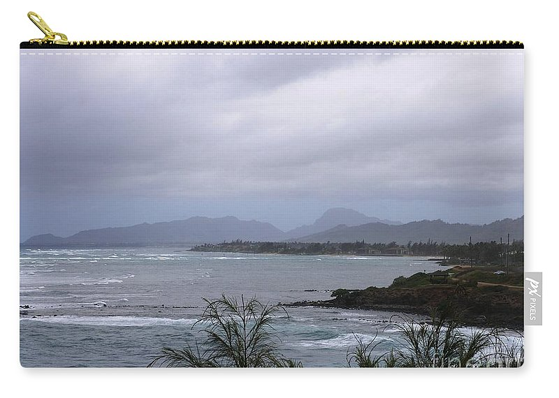 Gray Clouds Carry-all Pouch featuring the photograph Coconut Coast Shoreline by Mary Deal
