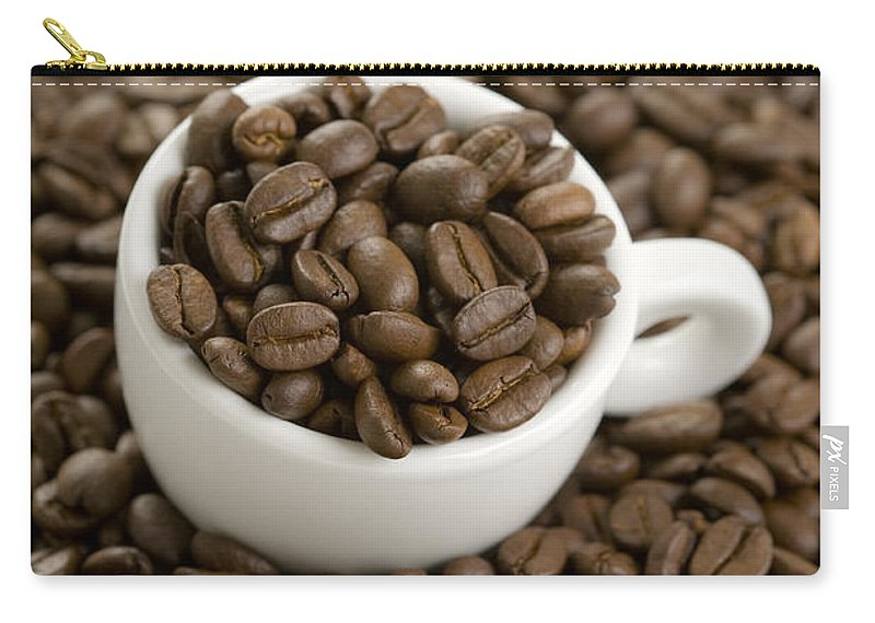 Coffee Carry-all Pouch featuring the photograph Coffe Beans And Coffee Cup by Lee Avison