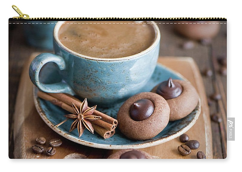 Temptation Carry-all Pouch featuring the photograph Coffee And Cookies by Verdina Anna