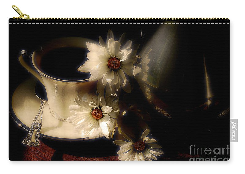 Coffee Carry-all Pouch featuring the photograph Coffee And Daisies by Lois Bryan