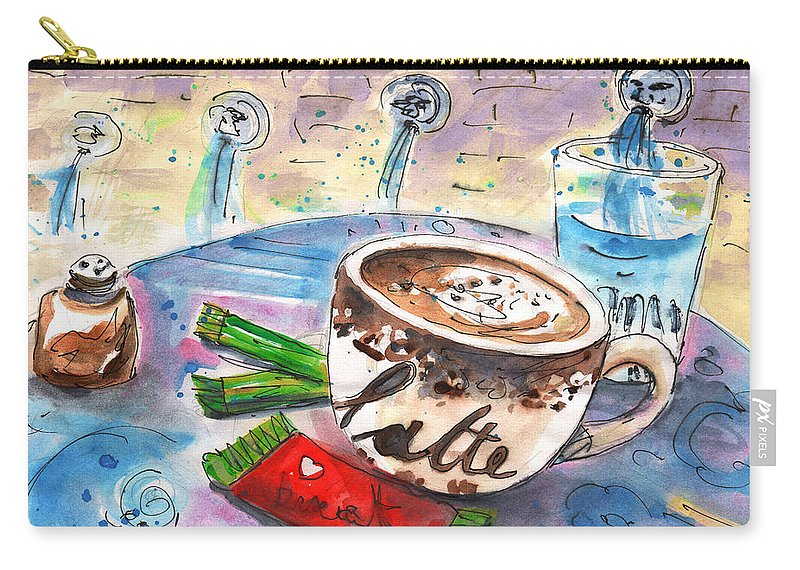 Travel Sketch Carry-all Pouch featuring the painting Coffee Break In Spili In Crete by Miki De Goodaboom
