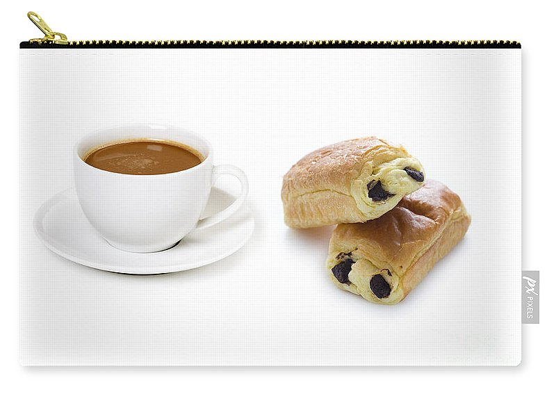 Brown Carry-all Pouch featuring the photograph Coffee Cup And Pain Au Chocolat by Lee Avison