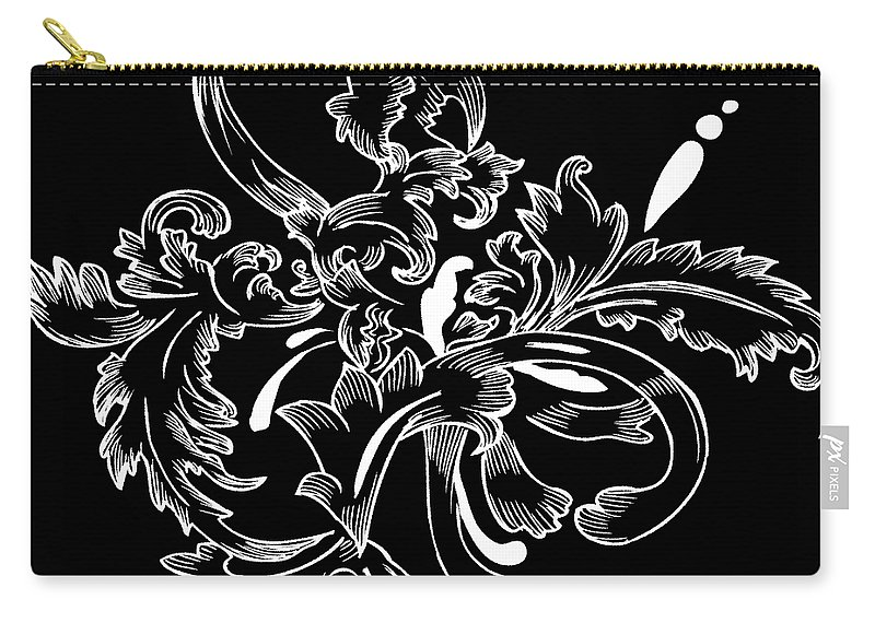 Flowers Carry-all Pouch featuring the digital art Coffee Flowers 11 Bw by Angelina Tamez