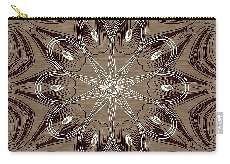 Intricate Carry-all Pouch featuring the digital art Coffee Flowers 4 Ornate Medallion by Angelina Tamez