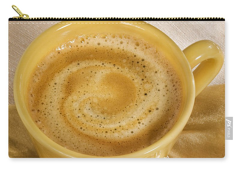 Coffee Carry-all Pouch featuring the photograph Coffee In Yellow by Iris Richardson