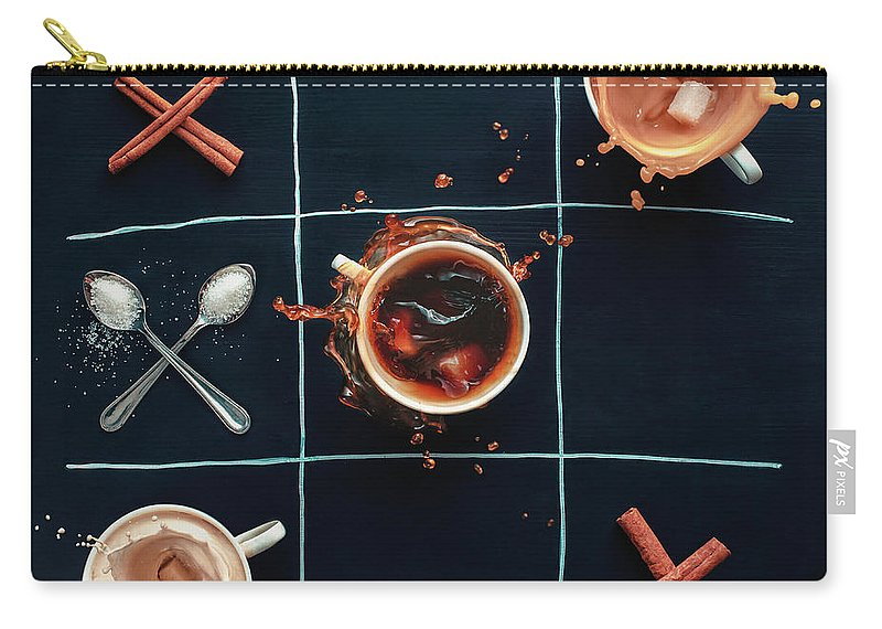 Milk Carry-all Pouch featuring the photograph Coffee Tic-tac-toe by Dina Belenko Photography