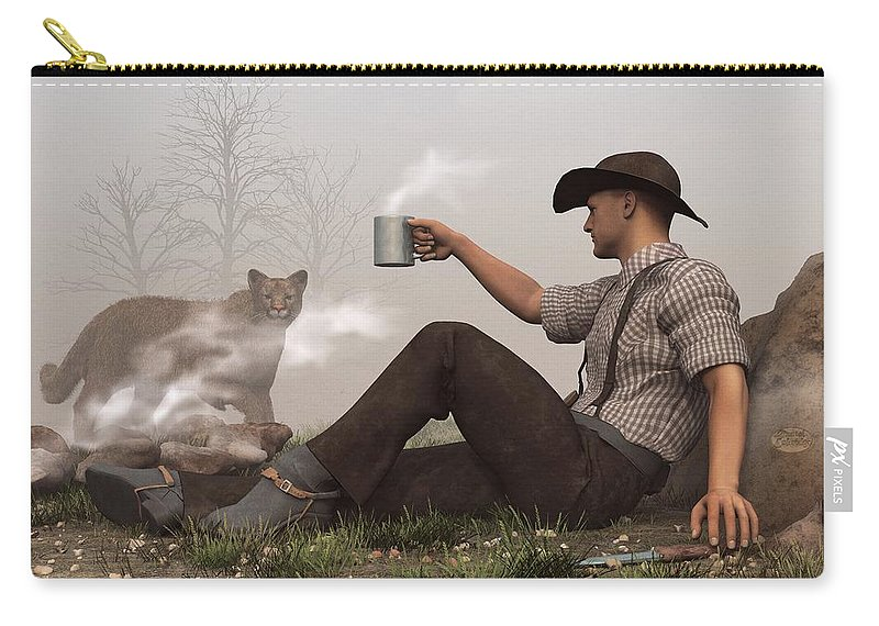 Cowboy Carry-all Pouch featuring the digital art Coffee With A Cougar by Daniel Eskridge