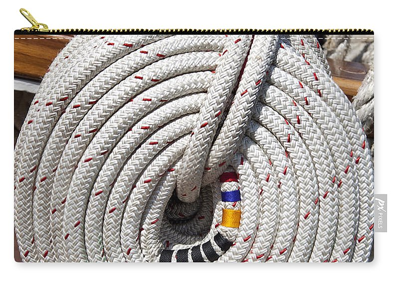 Rope Carry-all Pouch featuring the photograph Coiled Rope by Liz Leyden