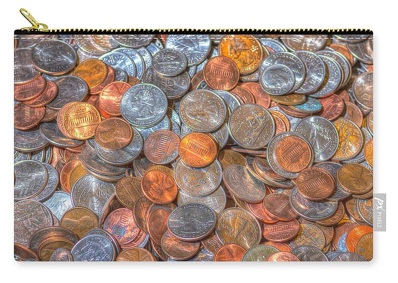 Background Carry-all Pouch featuring the photograph Coins by John Trax