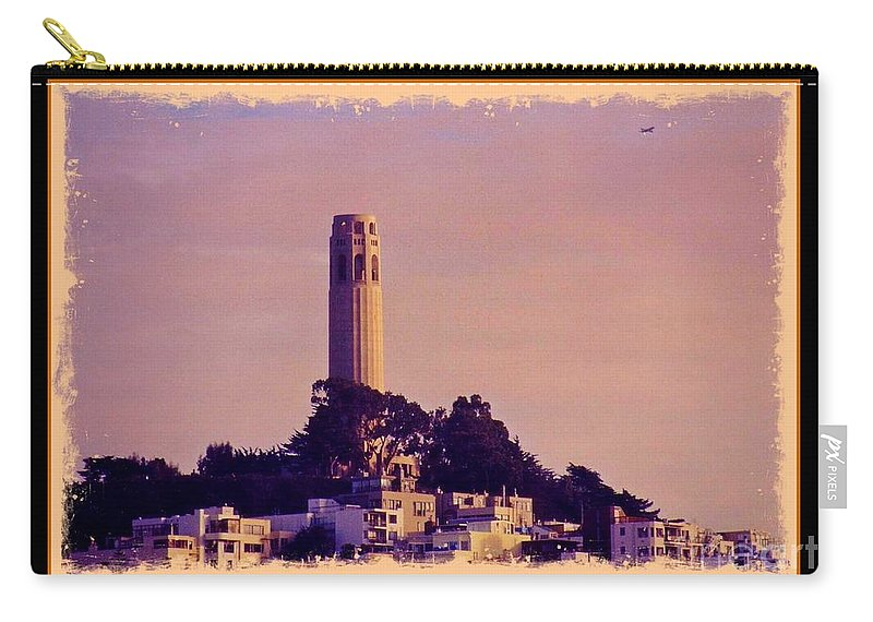 Coit Tower Poster Carry-all Pouch featuring the photograph Coit Tower Poster by John Malone