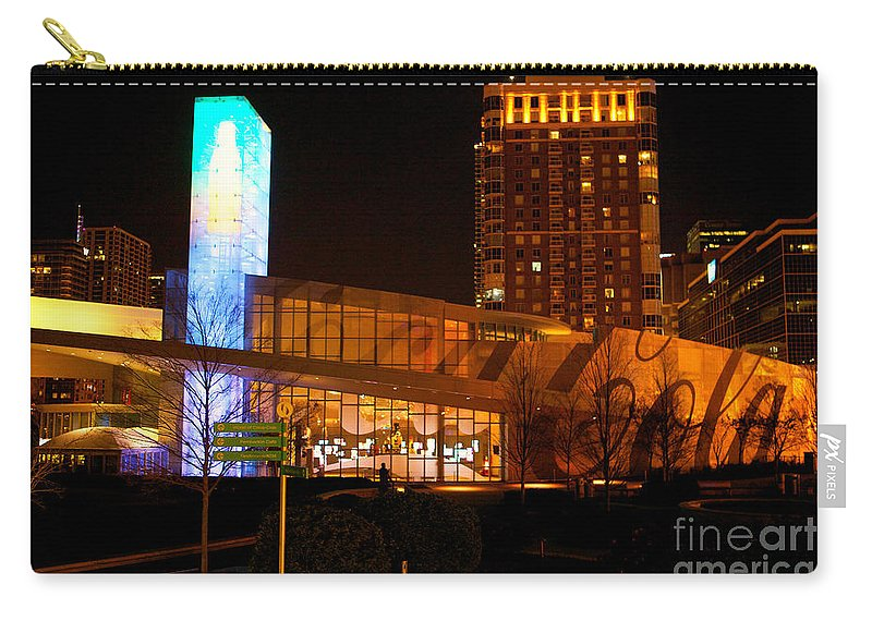 Coke Building Carry-all Pouch featuring the photograph Coke At Night by Erika Weber