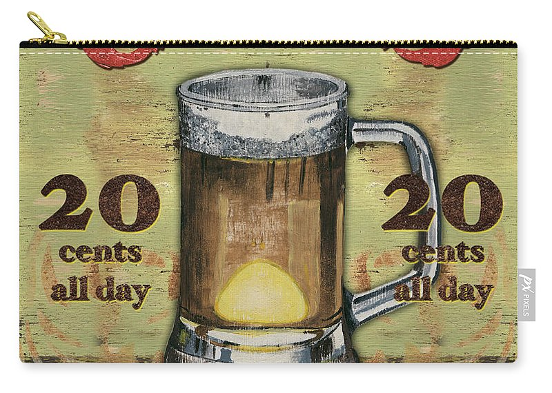 Food Carry-all Pouch featuring the painting Cold Beer by Debbie DeWitt