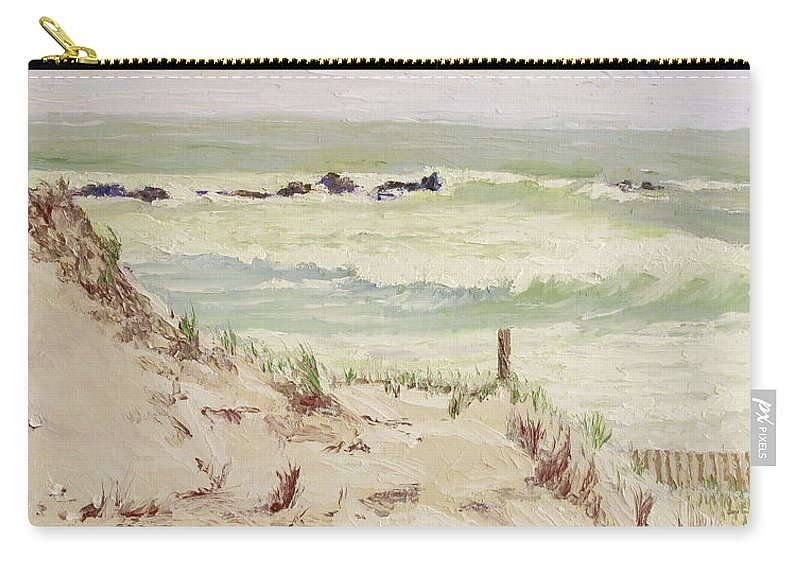 Seascape Carry-all Pouch featuring the painting Cold Day Rough Sea by Lea Novak