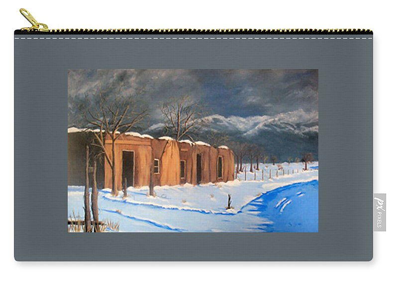 Adobe House Carry-all Pouch featuring the painting Cold Morning by Sue Stake