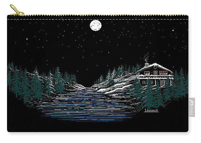 Cold Mountain Winter Carry-all Pouch featuring the digital art Cold Mountain Winter by Larry Lehman