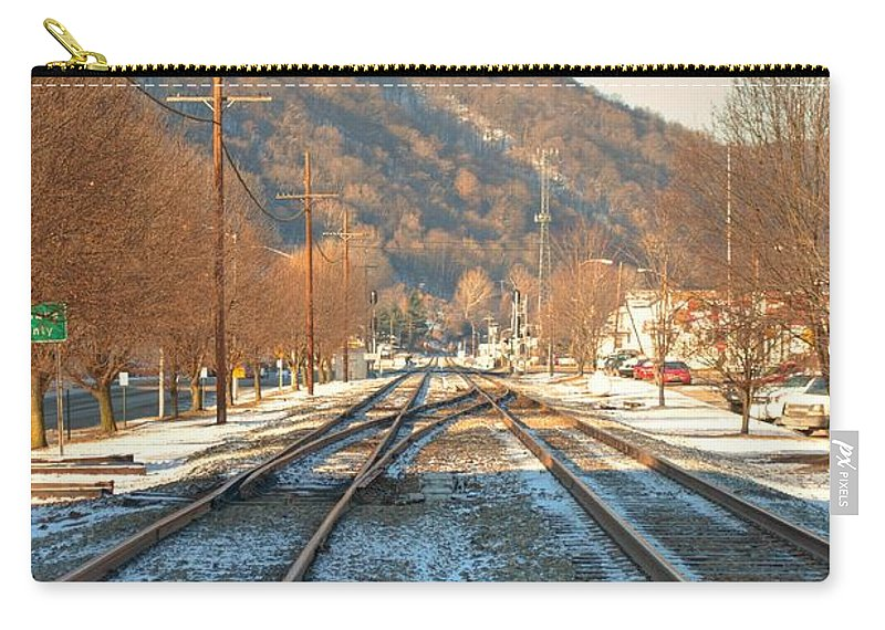 Feature Art Carry-all Pouch featuring the photograph Cold Tracks Through Montgomery by Paulette B Wright