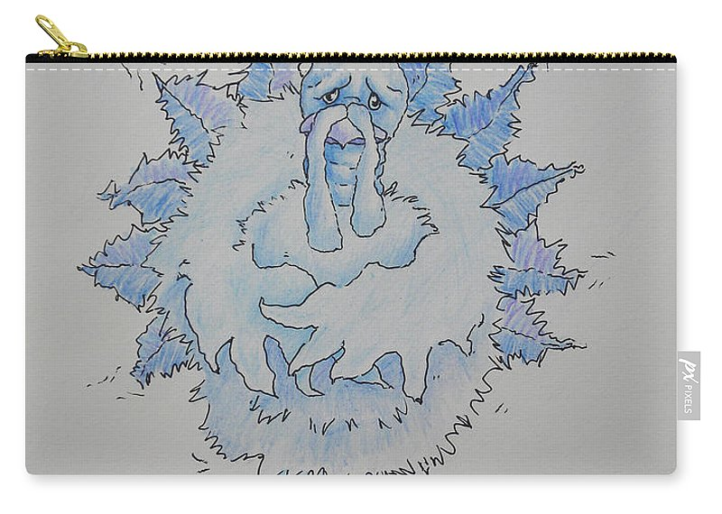 Cold Carry-all Pouch featuring the drawing Cold Turkey by Sheri Lauren