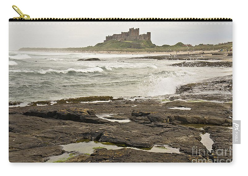 Seashore Carry-all Pouch featuring the photograph Cold Waves Of Northumberland by Elena Perelman