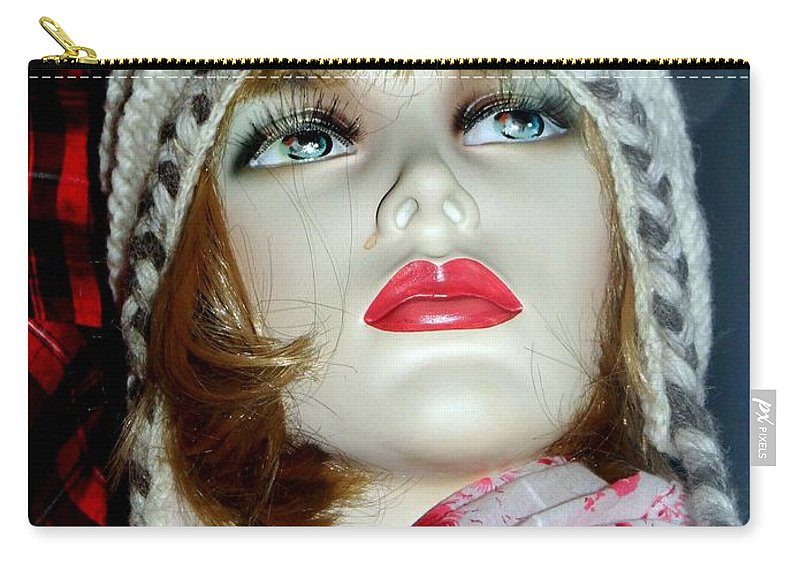 Mannequins Carry-all Pouch featuring the photograph Cold Weather Cutie by Ed Weidman