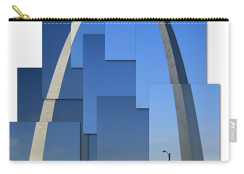 St Louis Arch Carry-all Pouch featuring the photograph Collage Of St Louis Arch by Garry McMichael
