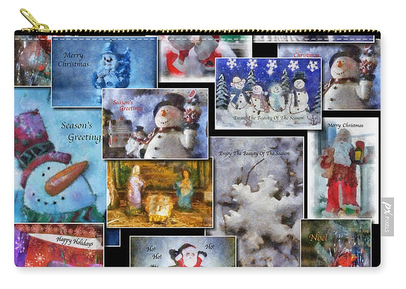 Collage Carry-all Pouch featuring the photograph Collage Xmas Cards Vertical Photo Art by Thomas Woolworth