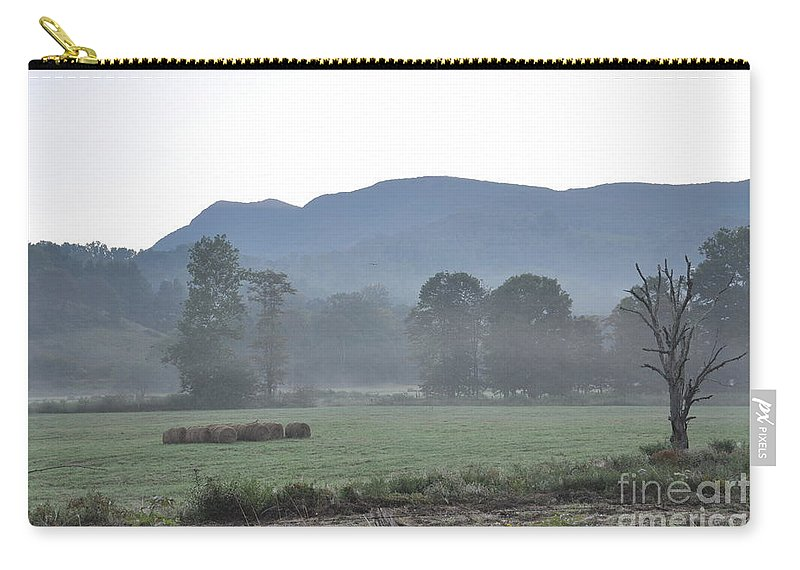 Fog Carry-all Pouch featuring the photograph Collecting The Hay by Christina McKinney
