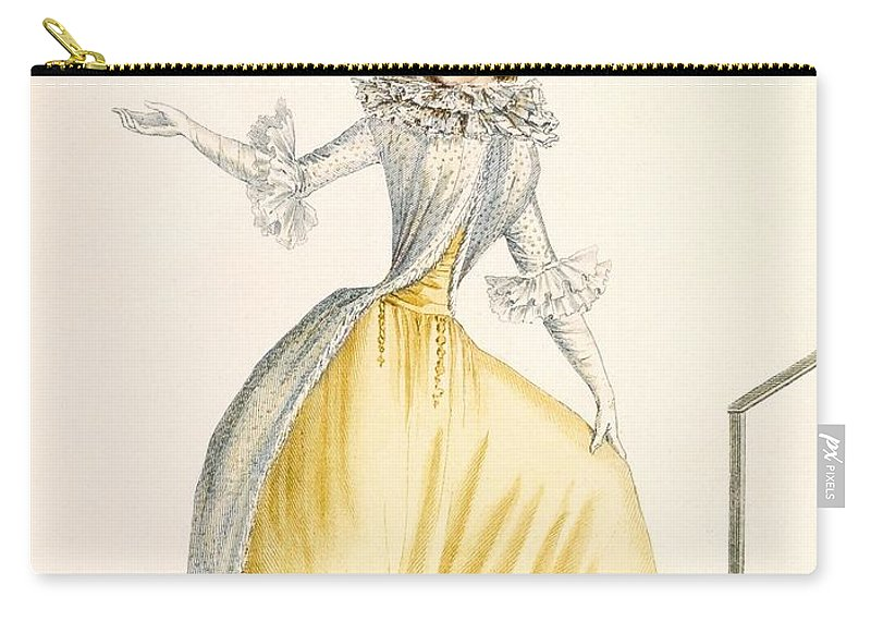 Carry-all Pouch featuring the drawing Collerette A La Henri Iv, Plate by Jean Florent Defraine