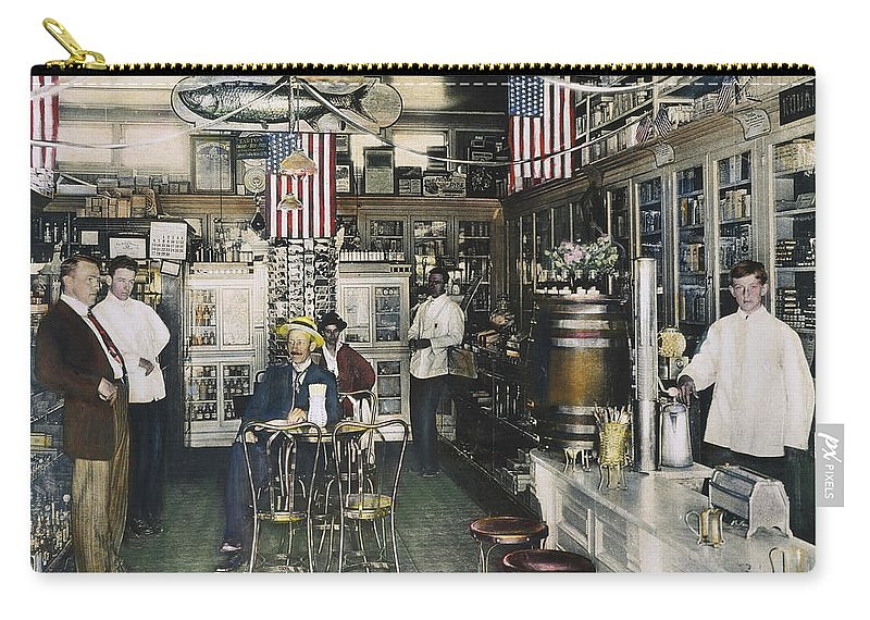 1890 Carry-all Pouch featuring the photograph Collins Pharmacy, 1900 by Granger