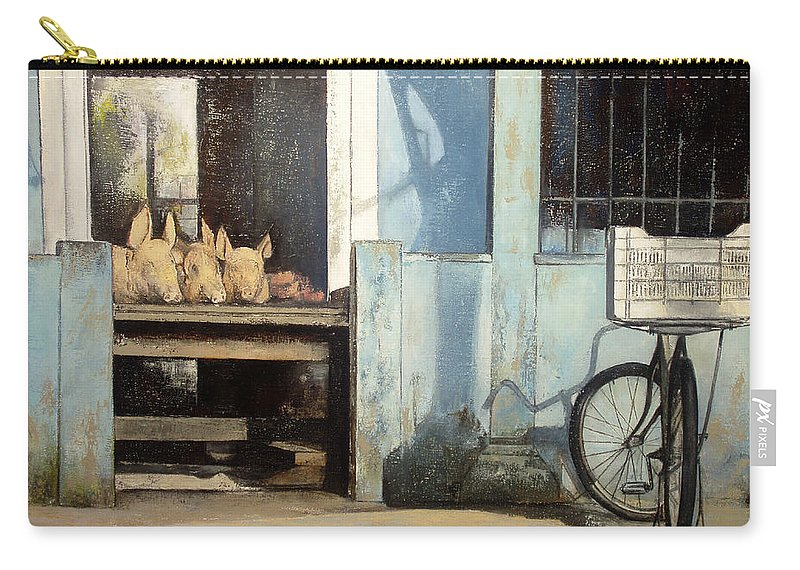 Colmado Carry-all Pouch featuring the painting Colmado-Havana by Tomas Castano