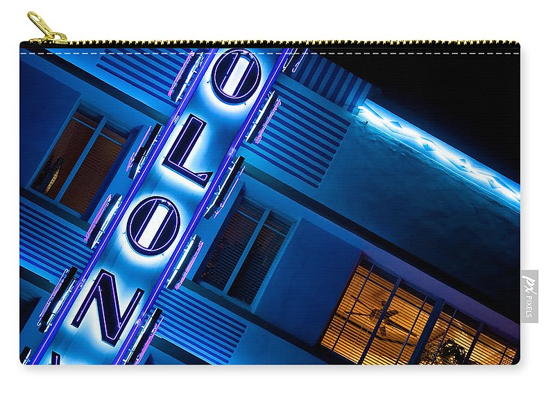 Colony Hotel Miami Carry-all Pouch featuring the photograph Colony Hotel 1 by Dave Bowman