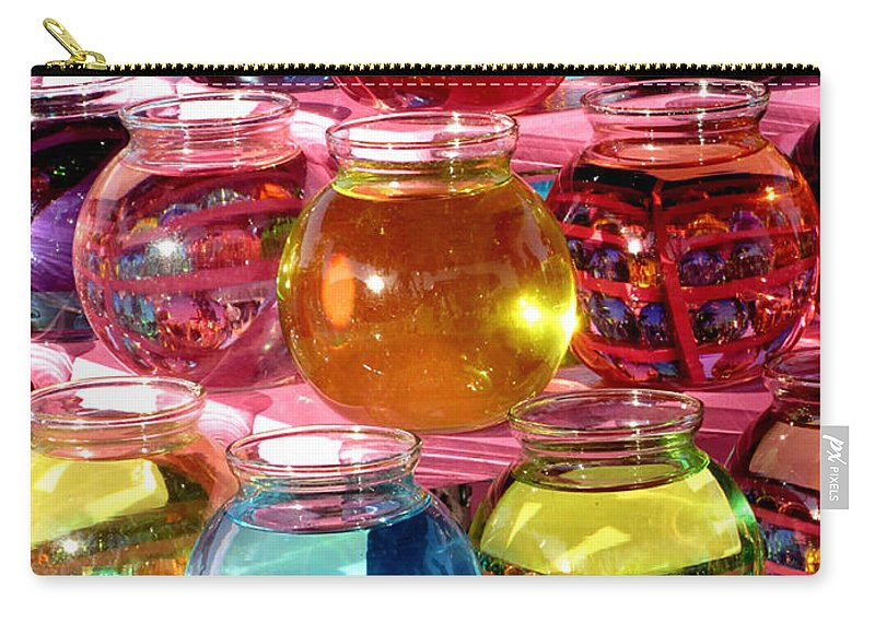 Bowls Carry-all Pouch featuring the photograph Color Fish Bowls by Donna Brown