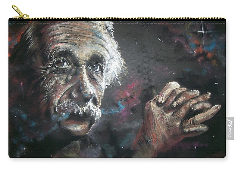 Portrait Pastel Einstien Carry-all Pouch featuring the pastel Color My Universe by Peter Suhocke