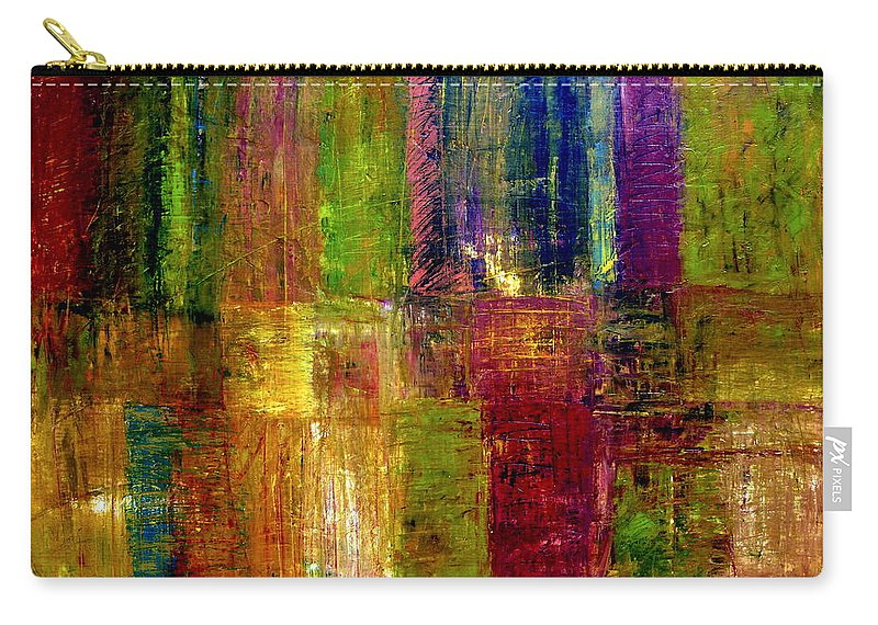 Abstract Carry-all Pouch featuring the painting Color Panel Abstract by Michelle Calkins
