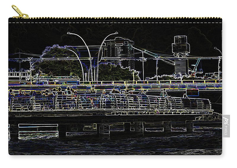 Action Carry-all Pouch featuring the digital art Color Pencil - Visitors On Viewing Plaza On Singapore River Next To The Merlion by Ashish Agarwal