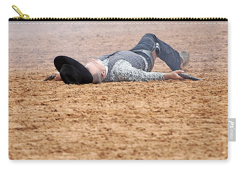 Rodeo Carry-all Pouch featuring the photograph Color Rodeo Gunslinger Victim by Sally Rockefeller