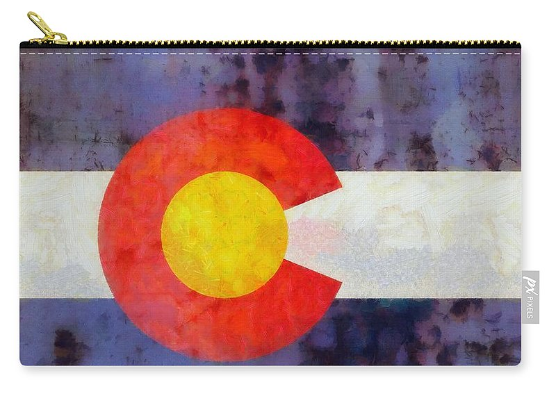Colorado State Flag Weathered And Worn Carry-all Pouch featuring the painting Colorado State Flag Weathered And Worn by Dan Sproul