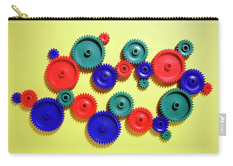 Working Carry-all Pouch featuring the photograph Colored Gears by Joseph Clark
