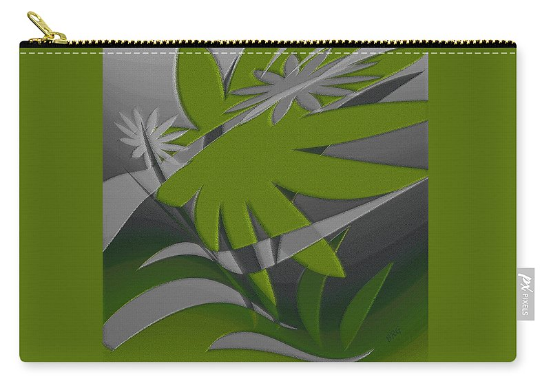 Botanical Abstract Carry-all Pouch featuring the digital art Colored Jungle Green by Ben and Raisa Gertsberg