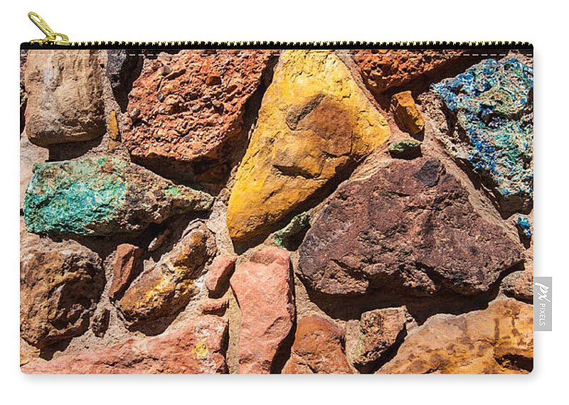 Colored Stones Carry-all Pouch featuring the photograph Colored Stone Rock Church Wall - Cedar City - Utah by Gary Whitton