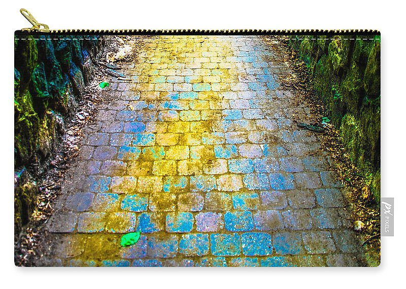Bridge Carry-all Pouch featuring the photograph Colored Stones And Lichen Covered Bridge by Optical Playground By MP Ray