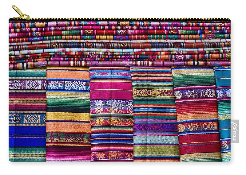 Colorful Carry-all Pouch featuring the photograph Colorful Blankets Santa Fe by Carol Leigh