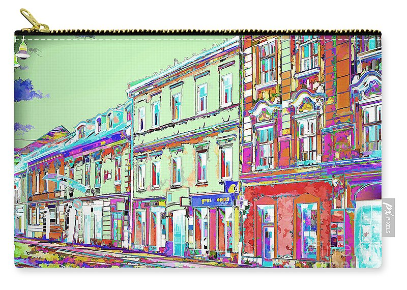 Street Carry-all Pouch featuring the photograph Colorful Buildings by Les Palenik