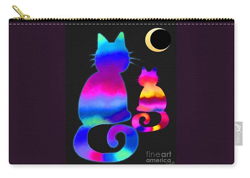 Cats Carry-all Pouch featuring the digital art Colorful Cats And The Moon by Nick Gustafson