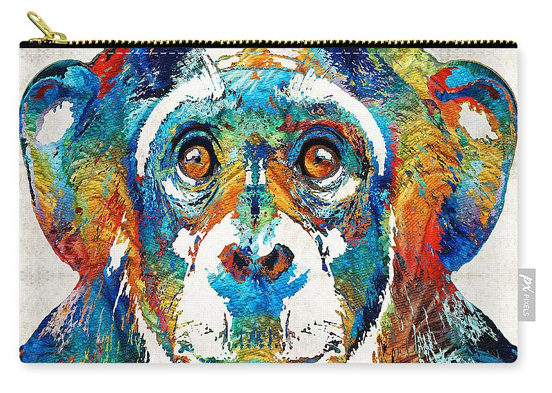 Monkey Carry-all Pouch featuring the painting Colorful Chimp Art - Monkey Business - By Sharon Cummings by Sharon Cummings