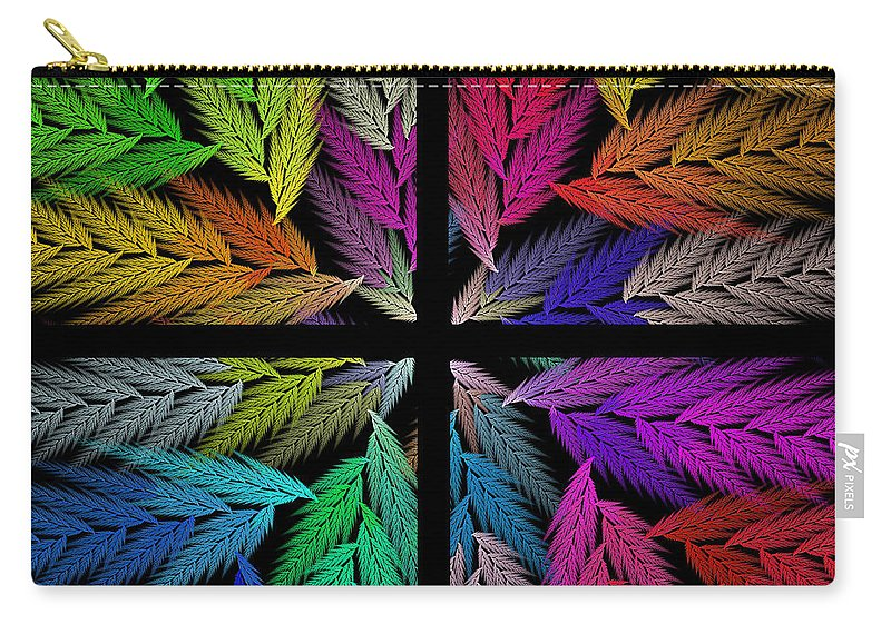 Abstract Carry-all Pouch featuring the digital art Colorful Feather Fern - 4 X 4 - Abstract - Fractal Art - Square by Andee Design